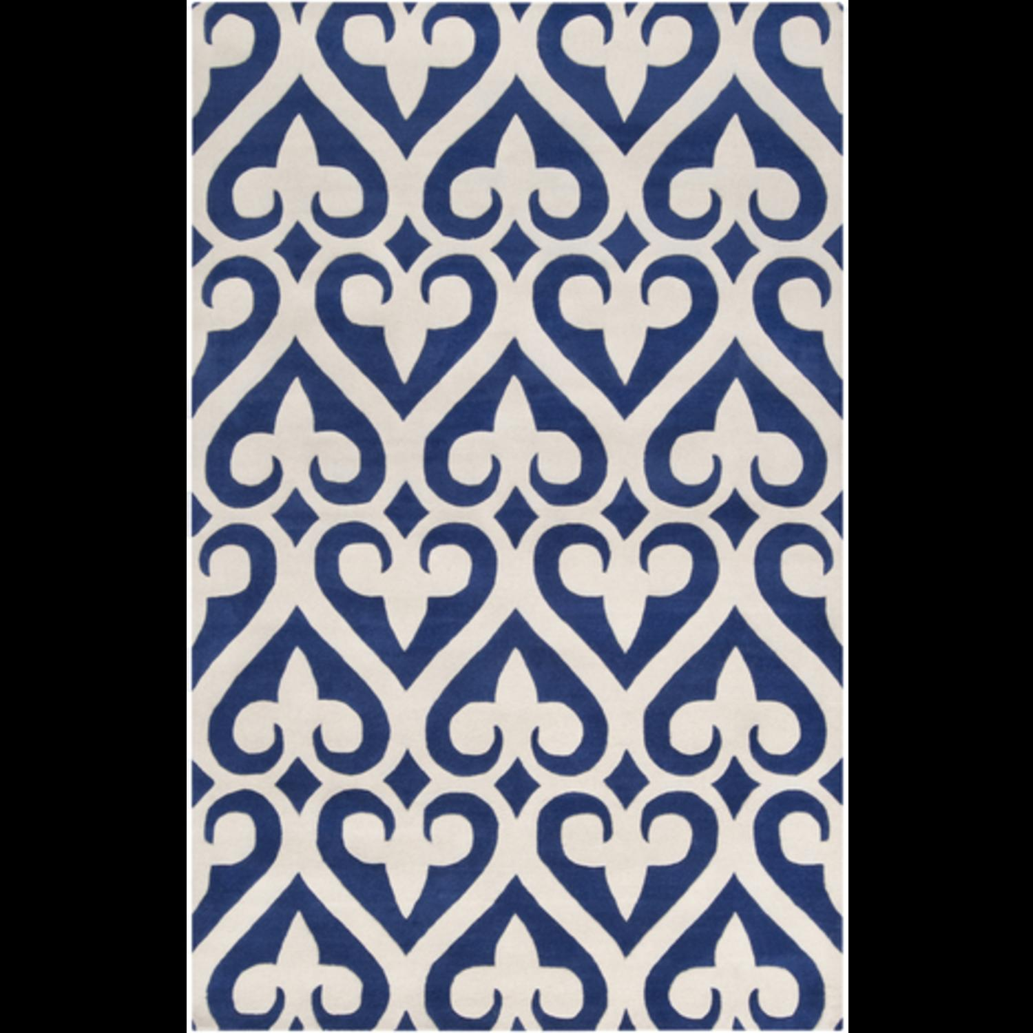 9' x 13' Spades White and Navy Blue Wool Area Throw Rug