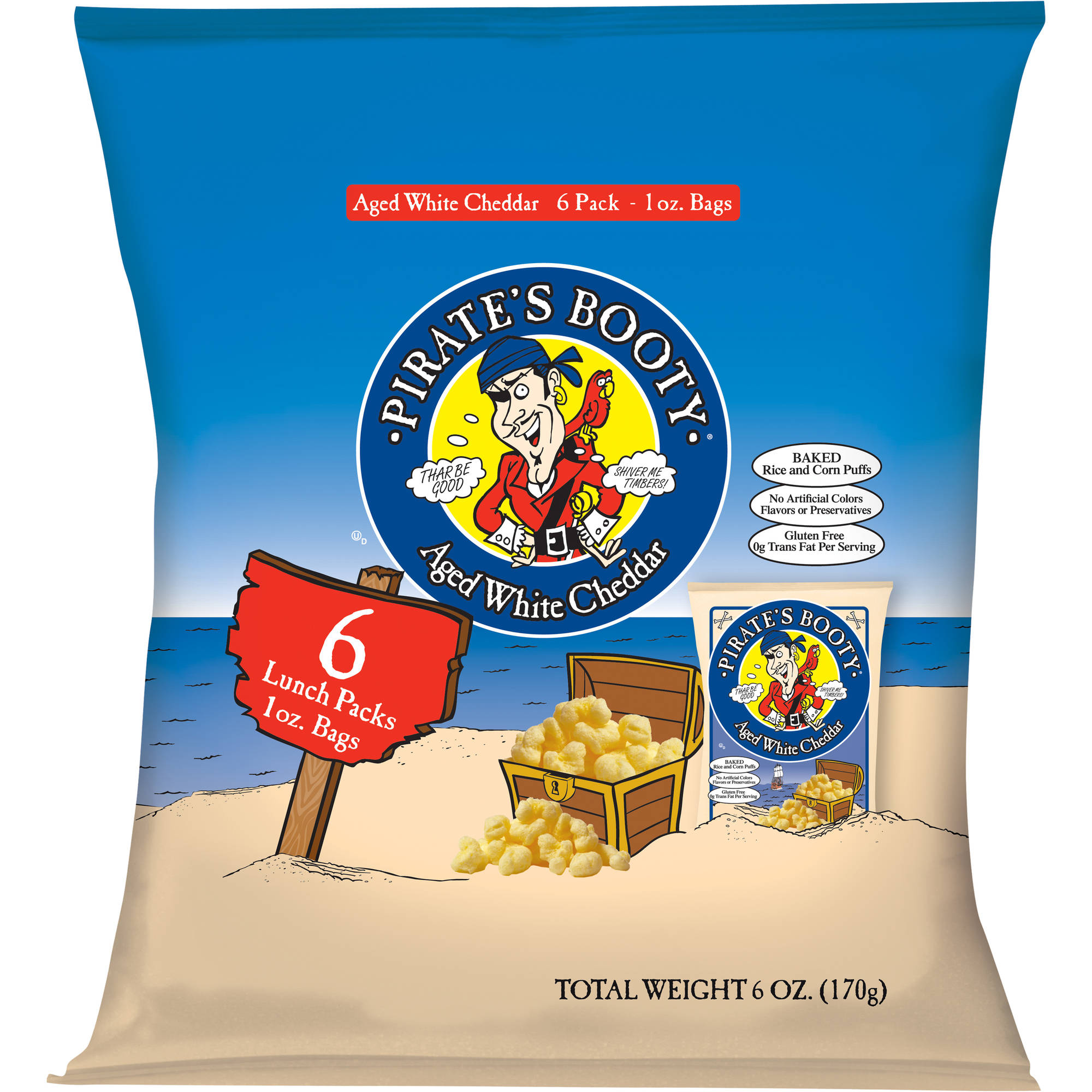 Pirate's Booty Aged White Cheddar Rice & Corn Puffs, 1 oz, 6 count