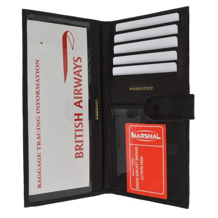 Security Pass Holder - menswallet Genuine Leather Passport Boarding Pass Holder for Travel 562 CF (C) Black