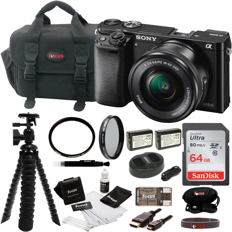 Sony Alpha a6000 Mirrorless Camera w/ 16-50mm Lens & 64GB SD Card Bundle (Black)