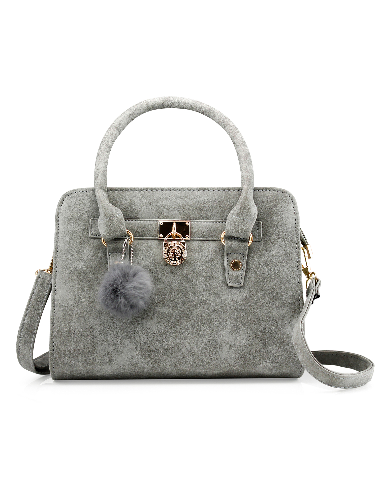 f04354a429 Gearonic - Lady Women Lock Faux Leather Tote Hobo Shoulder Bag Cute Purse  fur ball Satchel Fashion Luxury Handbag - Walmart.com