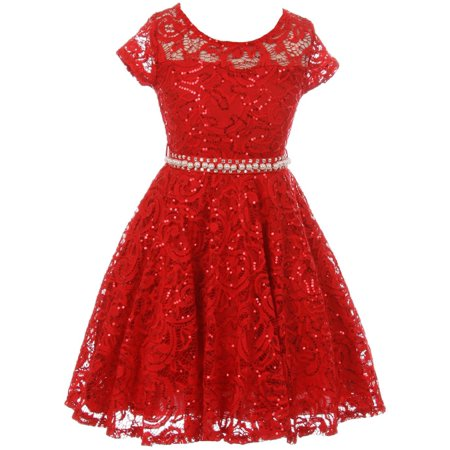 Little Girls Cap Sleeve Glitter Lace Pearl Holiday Junior Bridesmaid Flower Girl Dress USA Red 2 (2J1K0S2)