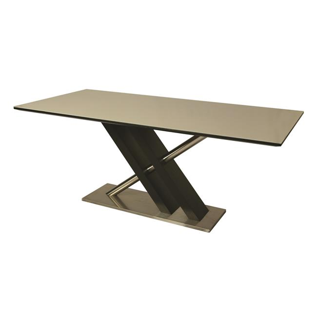 Impacterra 70 x 37 in. Charlize Table with Rectangular Champagne Glass Top in Stainless Steel, Wenge Veneer & Champagne Glass
