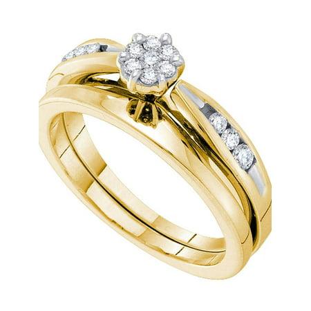 14k Yellow Gold Womens Round Diamond Cluster Bridal Wedding Engagement Ring Band Set 1/4 Cttw - image 1 of 1