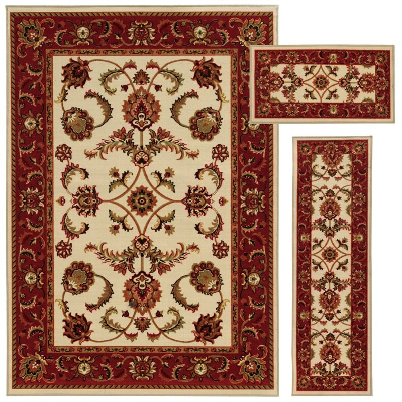 Oriental Weavers Benton 3 Piece Machine Tufted Rug Set in Beige