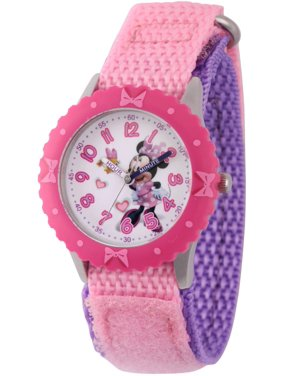 Minnie Mouse Girls' Stainless Steel Time Teacher Watch, Pink Bezel, Pink Hook and Loop Nylon Strap with Purple Backing