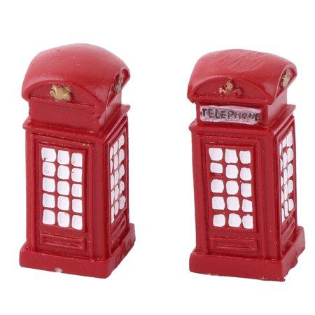 Unique Bargains Home Resin Telephone Booth Design Desk Table Decor Model Landscape Red 2 Pcs](Booth Decor Ideas)
