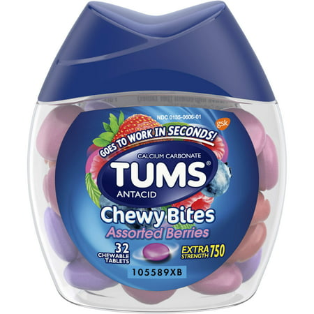 - TUMS Chewy Bites Assorted Berries Antacid, Hard Shell Chews for Heartburn Relief, 32 Antacid Chews
