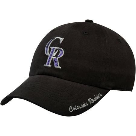 Colorado Rockies Hat (Women's Fan Favorite Black Colorado Rockies Sparkle Adjustable Hat -)