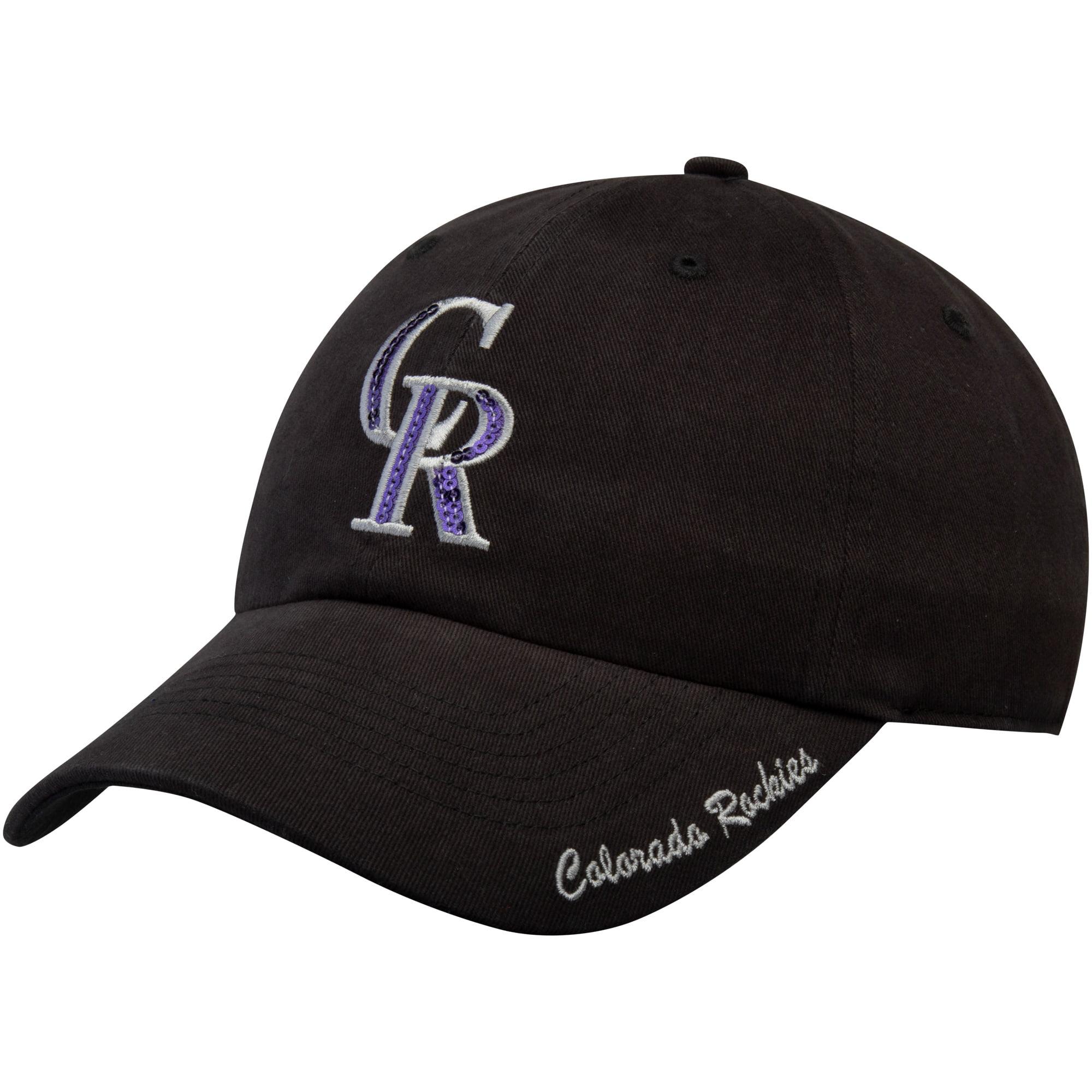 Women's Fan Favorite Black Colorado Rockies Sparkle Adjustable Hat - OSFA