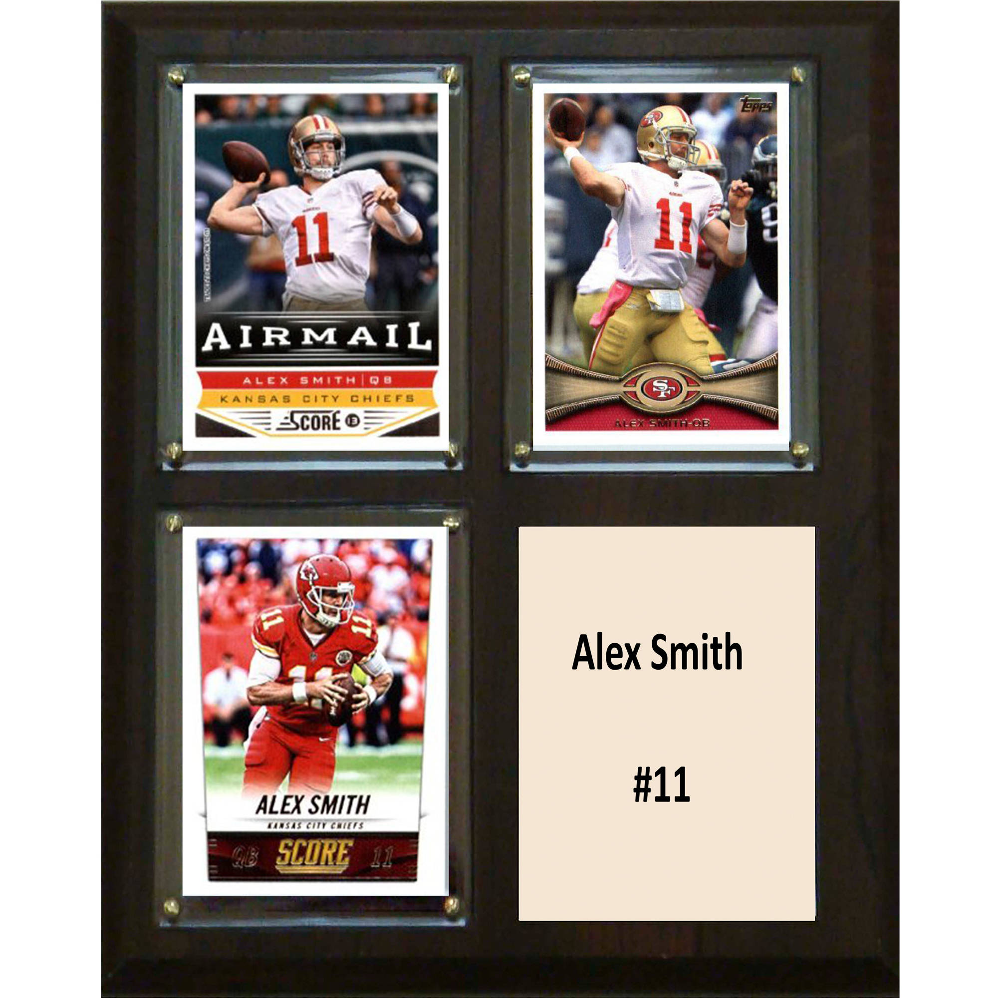 C&I Collectables NFL 8x10 Alex Smith Kansas City Chiefs 3-Card Plaque