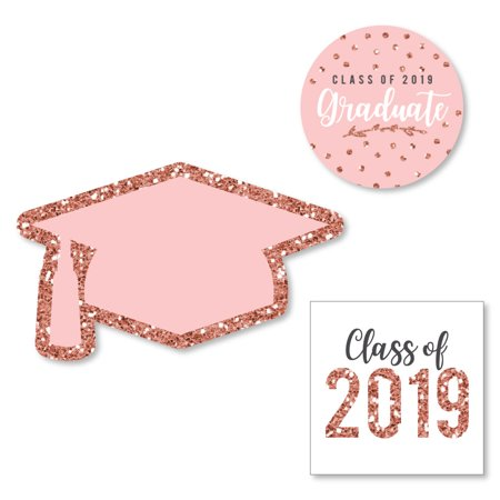 Graduation Face Cutouts (Rose Gold Grad - DIY Shaped 2019 Graduation Party Cut-Outs - 24)