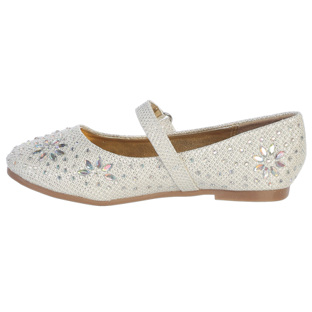 Girls Ivory Glitter Floral Stud Flat Shoes 11-4 Kids](Girl Flats Shoes)