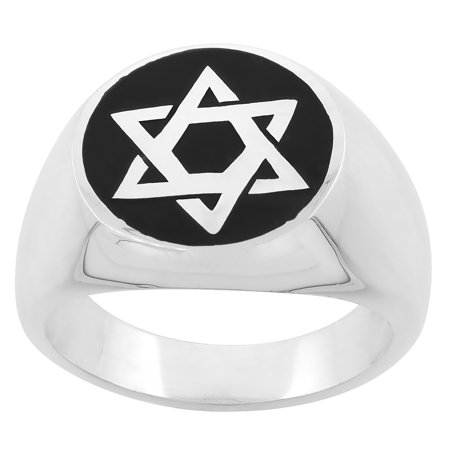 Sterling Silver Star of David Ring for Men & Women Handmade 3/4 inch wide, sizes 6 - 14