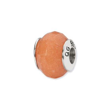 Peach Quartz Stone Bead & Sterling Silver Charm, 13mm