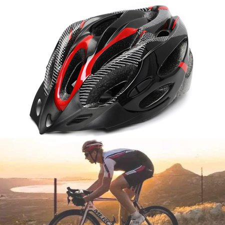 MTB Road Bike Bicycle Cycling Outdoor Riding Sports Carbon Helmet + Visor,Red color