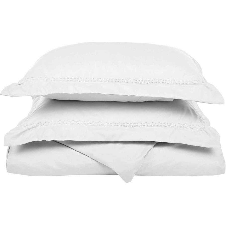 Twin//Twin XL Wrinkle Resistant Super Soft Light Weight White Duvet Cover Set with White Cloud Embroidered Pillowshams in Gift Box 100/% Brushed Microfiber
