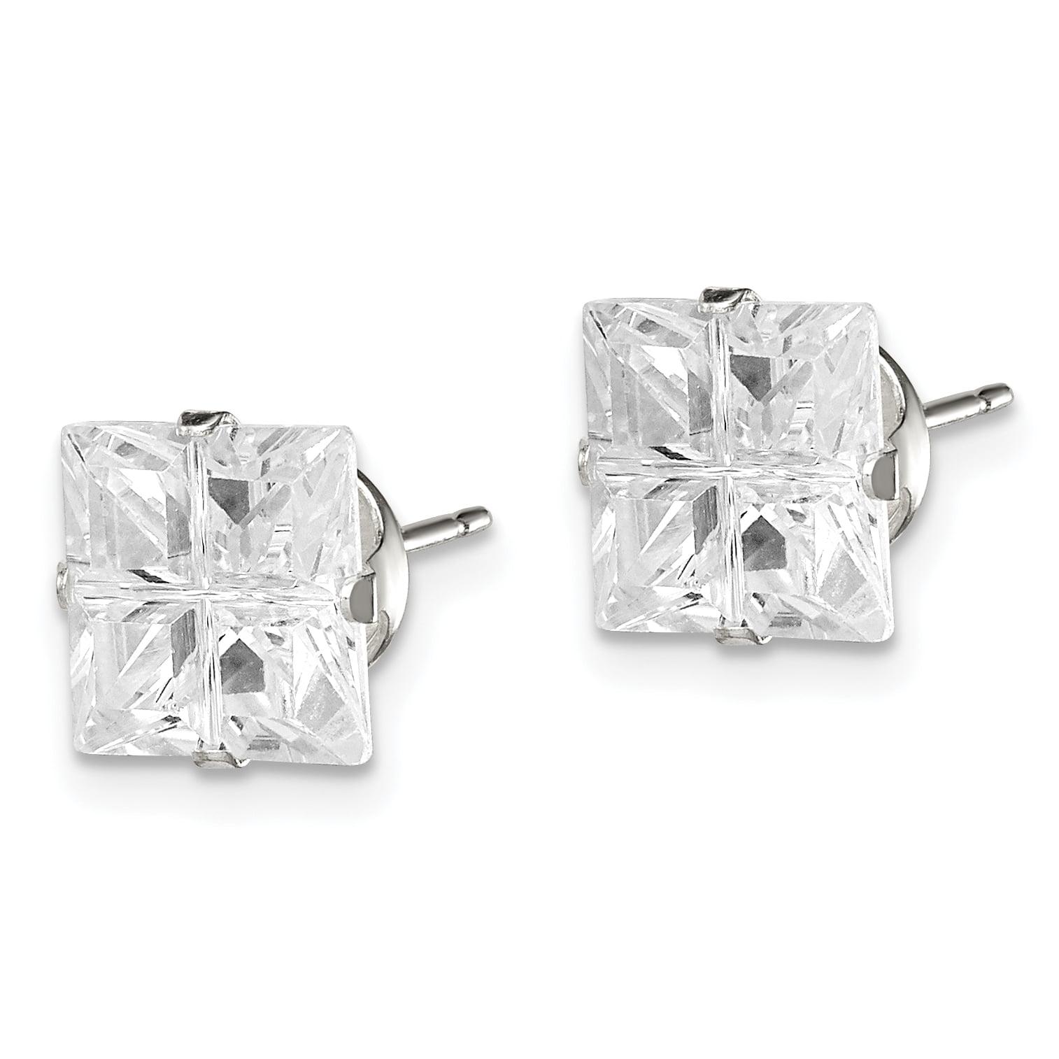 Sterling Silver 5mm Square Snap Set CZ Stud Earrings Snap-in Mounting 5 mm 5 mm Stud Earrings Jewelry