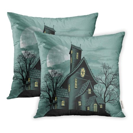 USART Scary Halloween Scene of Spooky Haunted Ghost House Creepy Mansion Horror Night Pillowcase Cushion Cover 18x18 inch, Set of 2](Halloween Horror Nights Chainsaws)