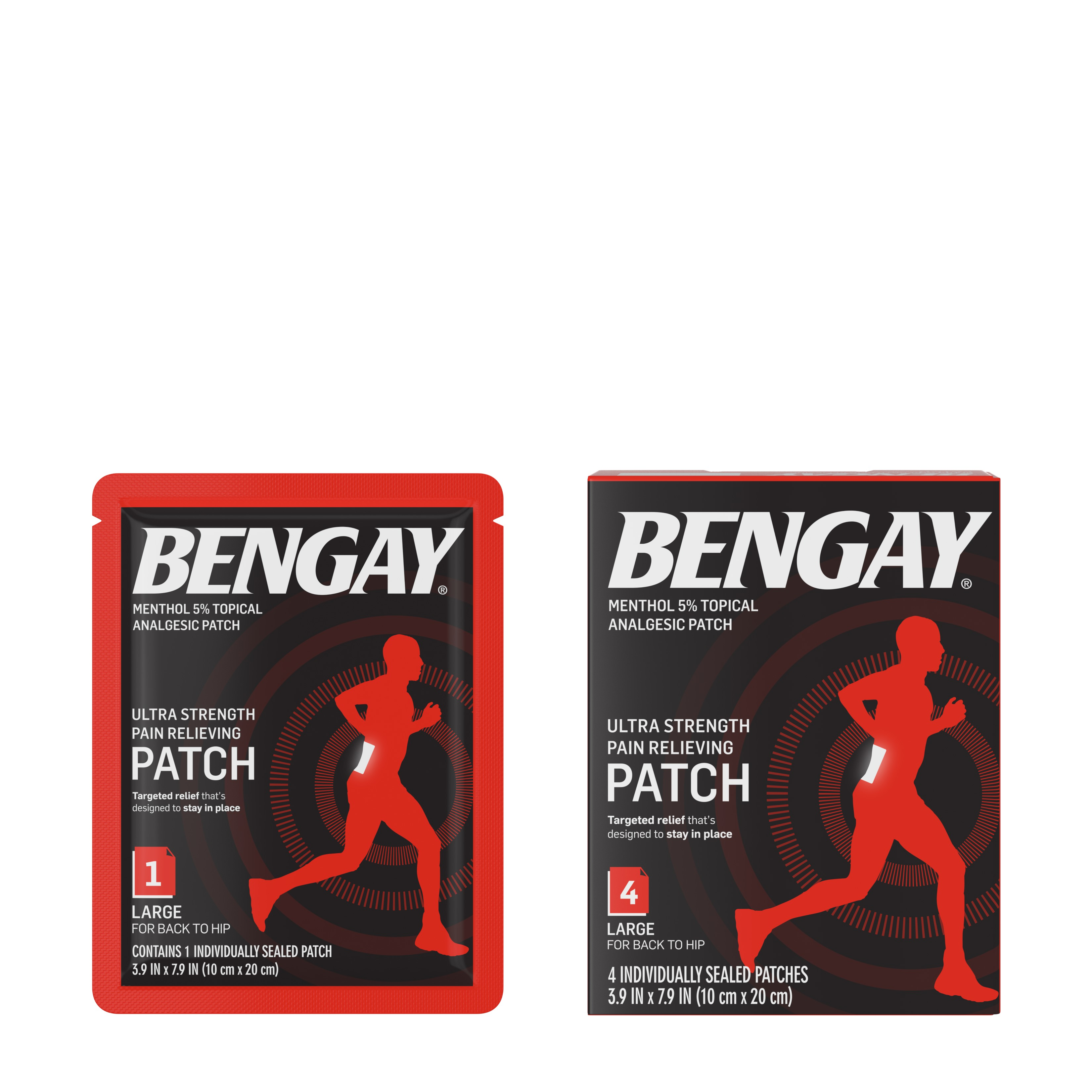 Ultra Strength Bengay Pain Relief Patch, 3.9 x 7.9 in, 4 ct