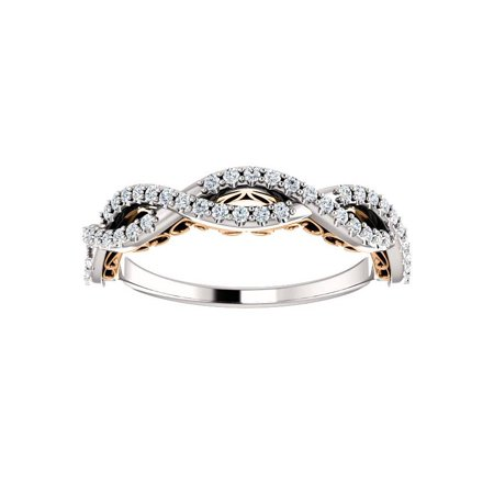 1/4ct Diamond Vintage Infinity Wedding Anniversary Ring 14k White & Rose Gold - image 2 of 4