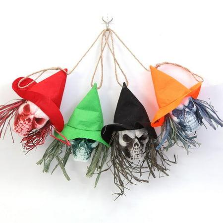 Elegantoss Set of 4 Halloween Hanging Decor Pirates Corpse Skull Haunted House Bar Party Home Garden Decor -