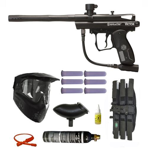 Spyder Victor Paintball Gun Marker 6+1 9oz 3Skull Mega Set Black by