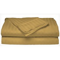 Deluxe Home 100% Cotton  400 Thread Count Dobby Stripe Sheet Set ( QUEEN, Gold)