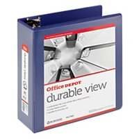 """Office Depot® Brand Durable D-Ring View Binder, 4"""" Rings, 60% Recycled, Blue"""