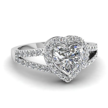 Delicate And Beautiful 1 Carat Heart Shaped Halo Split Shank Diamond Engagement Ring GIA In 14K White Gold