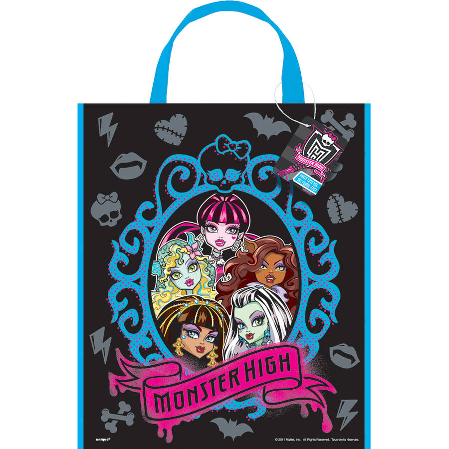 Large Plastic Monster High Goodie Bags, 13 x 11 in, 12ct