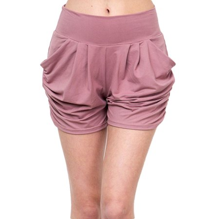 Womens Regular Sold Color Pleated Pockets Harem Shorts - Mauve L/XL (Pleated Womens Shorts)