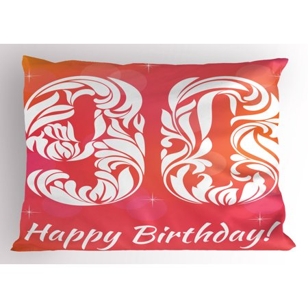 90th Birthday Pillow Sham Flower Inspired Number Design with Stars Background Celebration Event, Decorative Standard Queen Size Printed Pillowcase, 30 X 20 Inches, Pink Orange White, by Ambesonne](Ideas For 90th Birthday Celebrations)