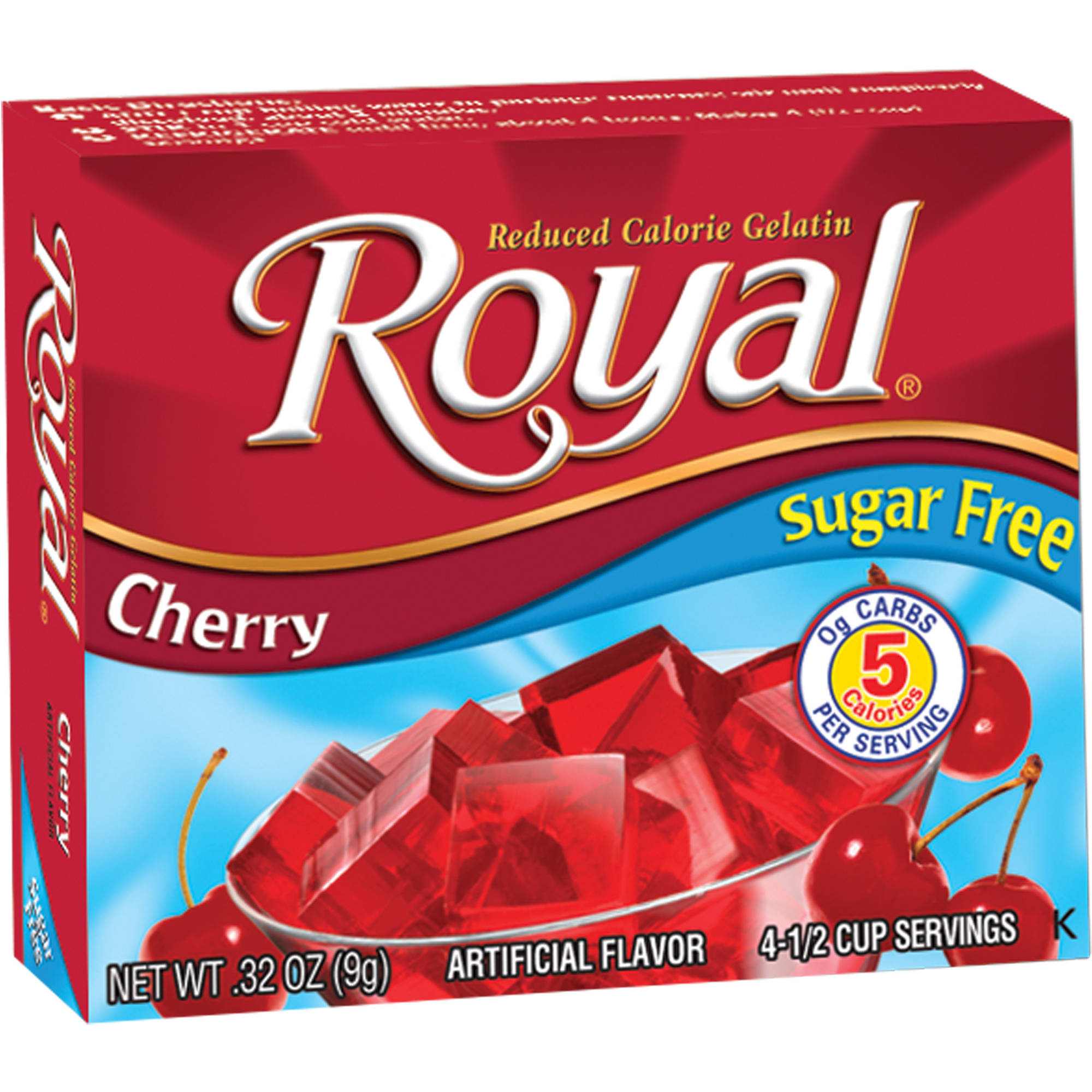 Royal Cherry Reduced Calorie Gelatin, 0.32 oz, (Pack of 12)