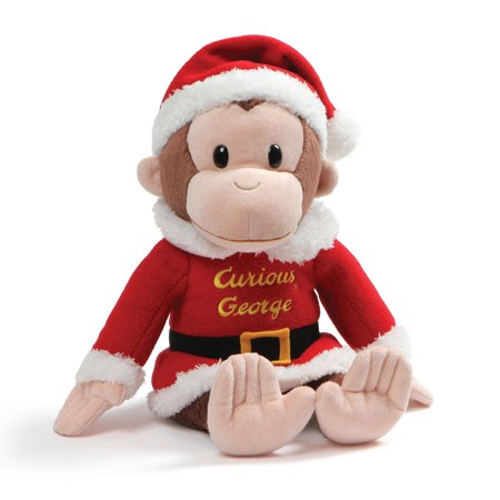 "Curious George Holiday Santa Suit Stuffed Animal Christmas Plush, Multicolor, 12"", Plush holiday curious George in classic red Santa suit and.., By GUND"