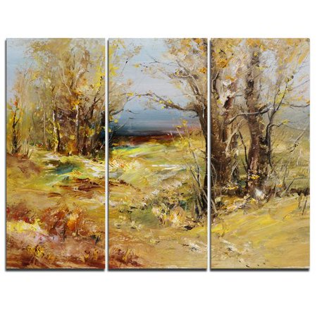 (Design Art Yellow Forest - 3 Piece Painting Print on Wrapped Canvas Set)