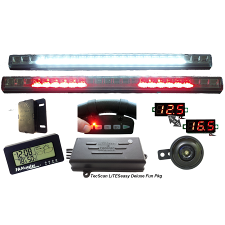 Golf Cart Lights, All-Signals Remote Control with Voltmeter Kit [DLX-FUN PKG] by