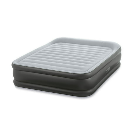 Intex Queen Deluxe Pillow Rest Fiber-Tech Airbed Raised Air Mattress with Pump This Intex Queen Deluxe Pillow Rest Fiber-Tech Raised Airbed from Intex provides the comfort of a traditional spring mattress. With a built-in air pump and convenient carrying bag, this queen air mattress is ready to go just about anywhere you do. It offers 15-gauge sides and bottom, and its two chambers help to keep sheets in place. The Deluxe Pillow Rest Airbed can handle a weight capacity of up to 300 lbs, and this airbed is engineered with Fiber-Tech? Technology, which is comprised of thousands of high-strength polyester fibers, this airbed provides enhanced comfort, stability, and support.
