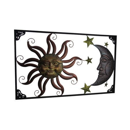 Tri-Tone Celestial Sun Moon and Stars Indoor/Outdoor Metal Wall Art ()