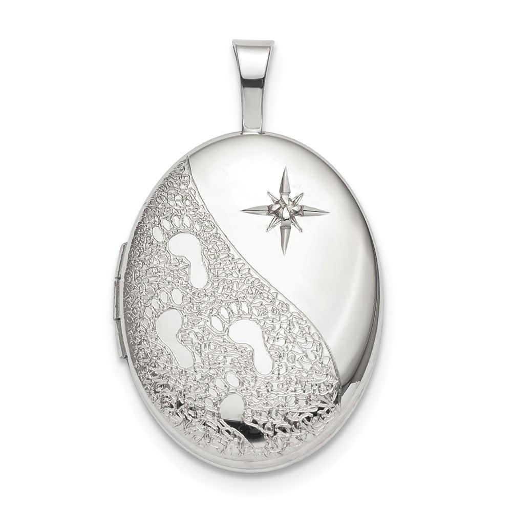 Solid 925 Sterling Silver 16mm Diamond Footprints Oval Locket