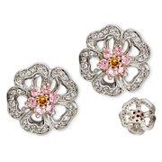 CZ EAR1311 C.Z. Pink Sapphire Diamond Sterling Silver Flower Earrings
