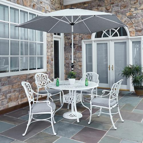 Home Styles Floral Blossom II 5-piece Dining Set with Arm Chairs with umbrella