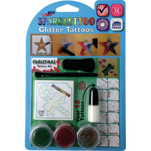 RUBY RED PAINT, INC. 16 Piece Christmas Glitter Tattoo Set
