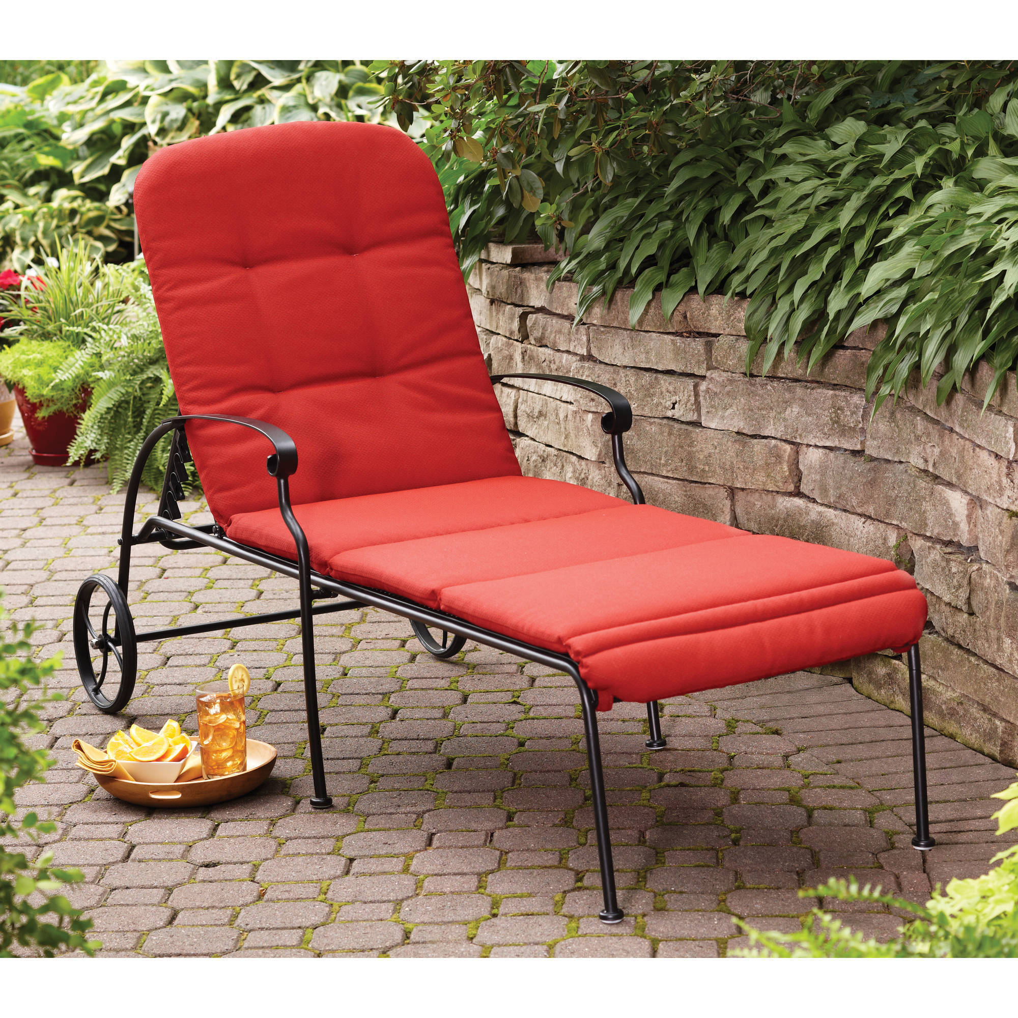 Better Homes & Gardens Clayton Court Chaise Lounge with Wheels, Red