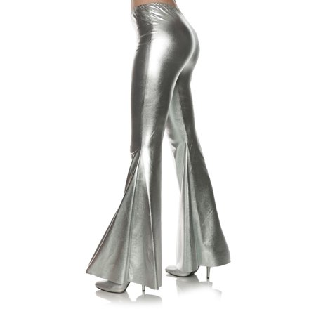 70s Fashion Halloween Costume (Silver 70S Metallic Womens Adult Disco Costume Bell Bottoms)