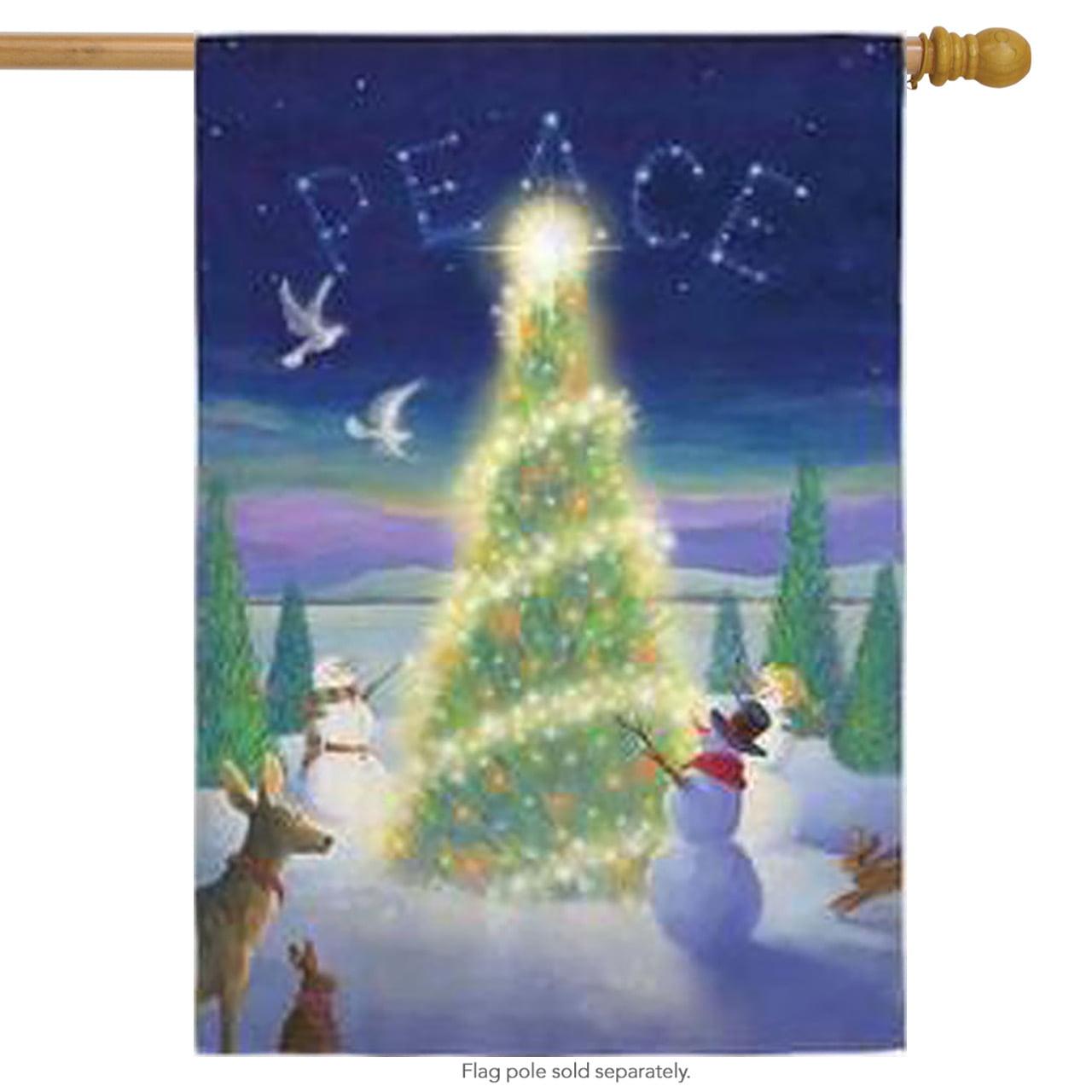 Christmas Peace Holiday House Flag Christmas Tree Doves Snowman Reindeer  Winter