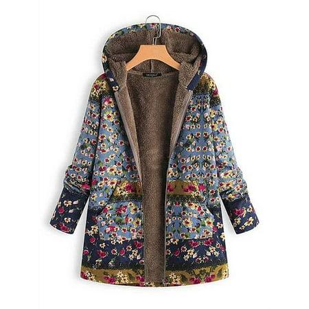 The North Face Fleece Parka - Women Winter Fall Parka Cotton Linen Fleece Coat Vintage Fur Collar Long Hooded Outwear Jacket