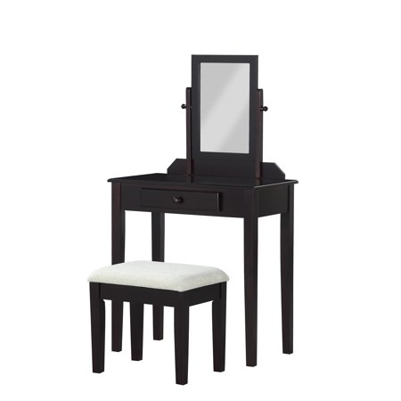 Single Mirror Vanity With Upholstered Stool Multiple