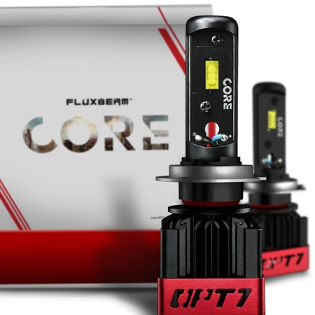 OPT7 Fluxbeam CORE H7 LED Headlight Bulbs with FX-7500 CREE Chip Plug-N-Play Conversion Kit - 6,000LM 6000K Cool White - Built. Not