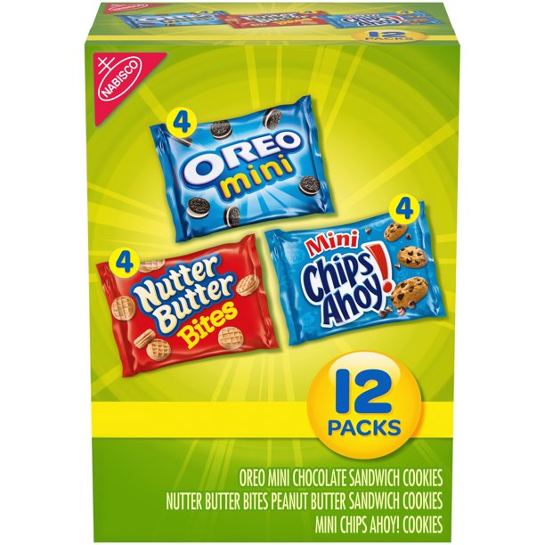 Nabisco Cookie Variety Pack, OREO Mini, Nutter Butter Bites & Mini CHIPS AHOY!, 12 Snack Packs